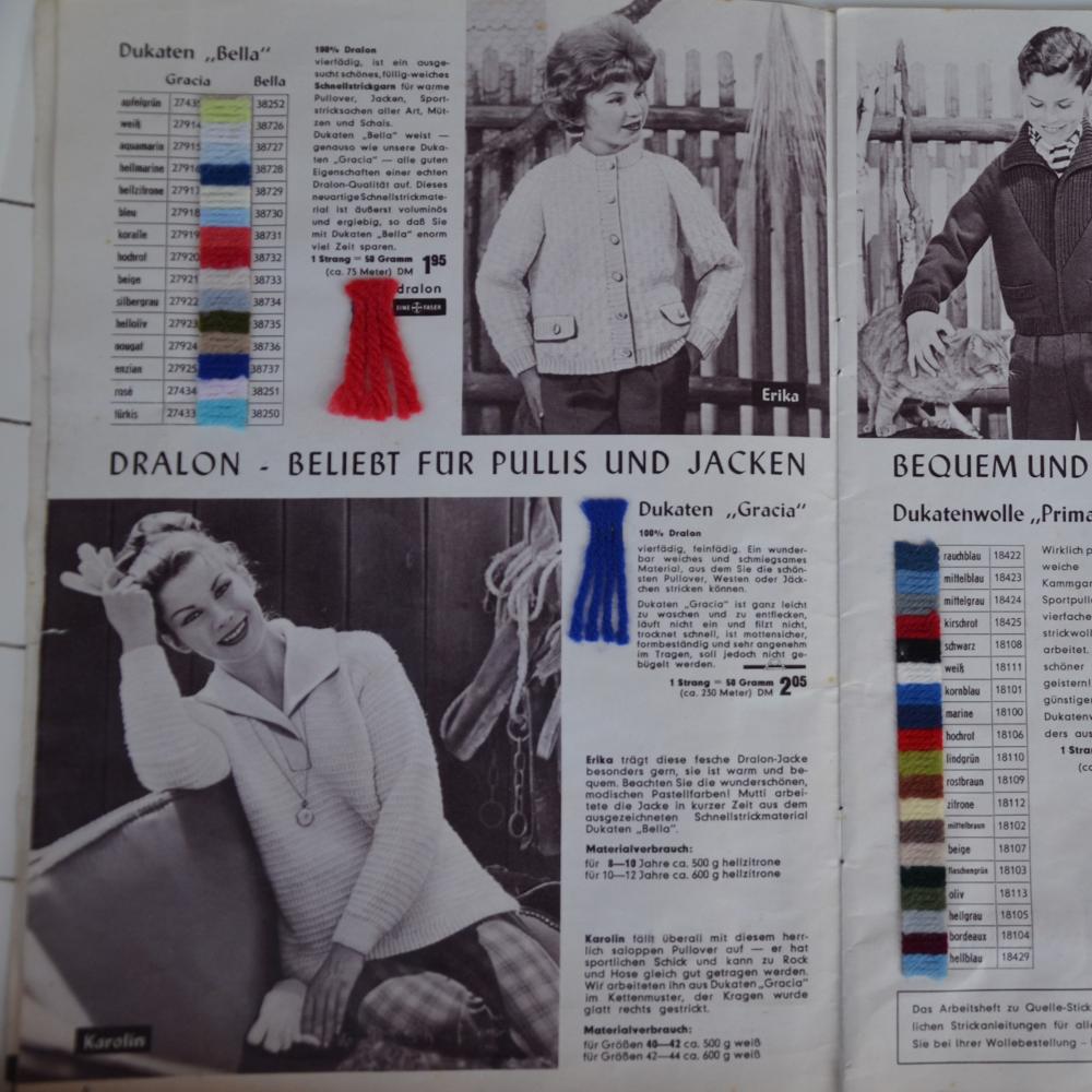 Model Karolin - aus Dukaten-Gracia Wolle. Seite 6 des Quelle-Strickmoden Heftes 16 Herbst/Winter 1960/61.