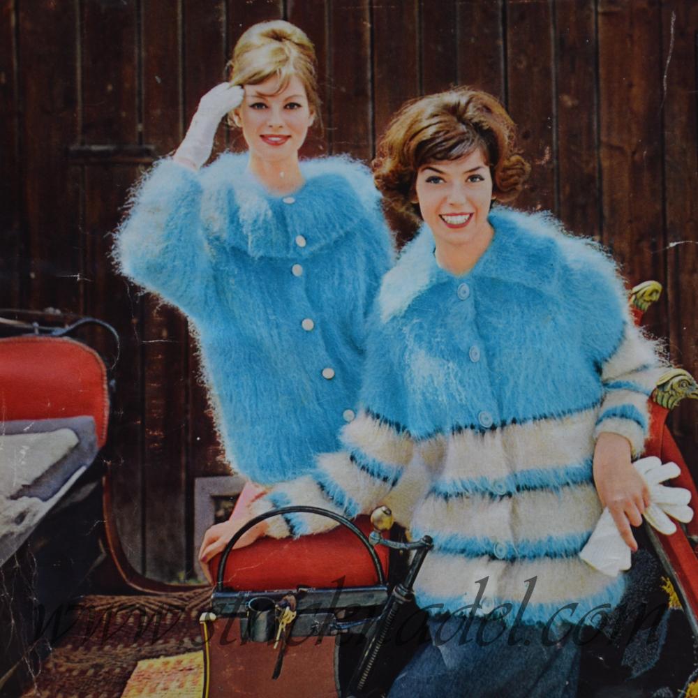 Model Lady und Biggi - aus Dukaten-Mohair-Flausch. Rückseite des Quelle-Strickmoden Heftes 16 Herbst/Winter 1960/61.